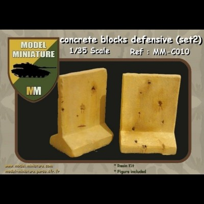 Concrete blocks defensive used  (set 2) 1/35 scale