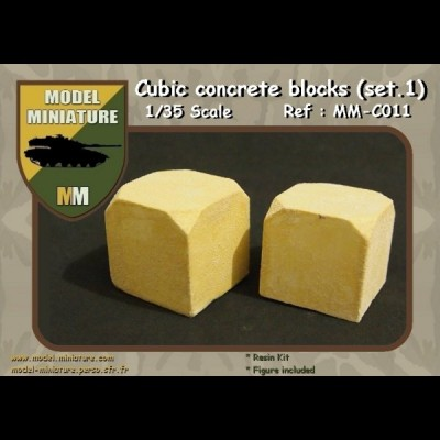 Cubic concrete blocs (set 1) 1/35 scale