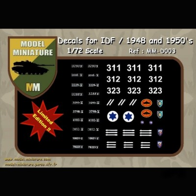 Decals for IDF / 1948 and 1950's, 1/72 scale